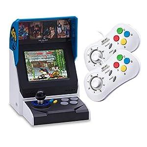 NEOGEO Mini Console: International Edition plus 2 x NEOGEO Mini White Controllers Bundle (Includes 40 Games)