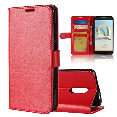 Alcatel A7 XL Hülle Brieftasche Hülle PU+TPU Kunstleder Handyfall für Alcatel A7 XL mit Stand Funktion Ein Stent-Funktion (Rot)