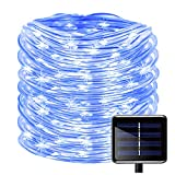 100LEDs Schlauch Lichterkette,KINGCOO IP55 Wasserdicht 39ft/12m Solarlichterkette Röhrenlicht Seil Kupferdraht Weihnachtsbeleuchtung Lichter für Hochzeit Garden Party Außenlichterkette (Blau)