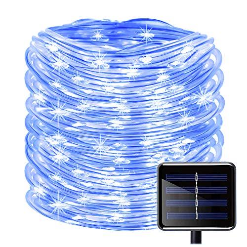 100LEDs Schlauch Lichterkette,KINGCOO IP55 Wasserdicht 39ft/12m Solarlichterkette Röhrenlicht Seil Kupferdraht Weihnachtsbeleuchtung Lichter für Hochzeit Garden Party Außenlichterkette (Blau) (Seil-beleuchtung 12 Meter)