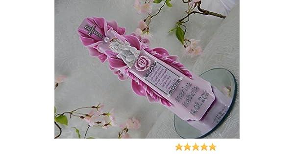 Taufkerze geschnitzt rosa mit Schutzengel 3D Taufkerze Mädchen mit Beschriftung