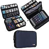 Universal Double Layer Travel Gear Organiser / Custodia da viaggio universale per dispositivi elettronici e accessori (M, Dark Blue)