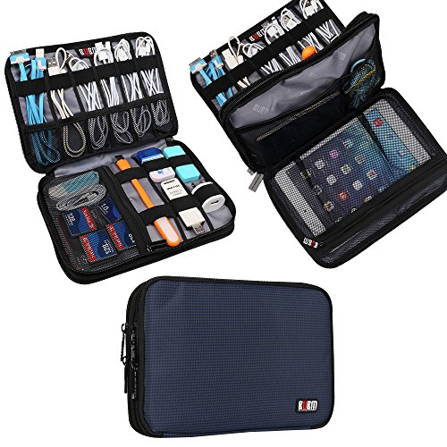 Universal Double Layer Travel Gear Organiser / Custodia da viaggio universale per dispositivi elettronici e accessori (M, Dark Blue)