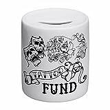 """Spardose aus Keramik mit Aufschrift: """"Tattoo Fund"""""""