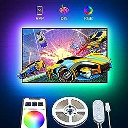 Govee Ruban LED TV 2M RGB USB avec APP, Bande Lumineuse 5050 Rétroéclairage TV Multicouleur, Bande LED Multi DIY couleurs pour 40-55in HDTV Moniteur PC 5V 4pcs x 50cm