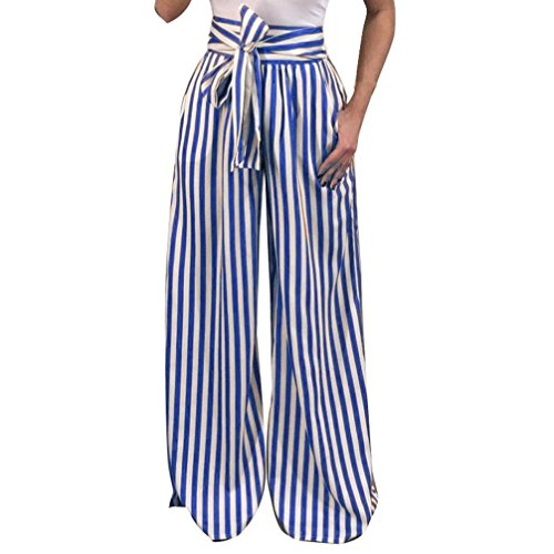 UFACE Striped Print Strap Hose mit weitem Bein Hose Damen Striped High Waist Harem Pants (L/(42), Blau)