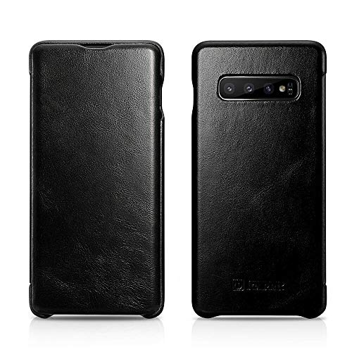 ICARER Galaxy S10 Hülle, Vintage Serie Ultra Slim Echtleder Flip Folio Case Side Open Cover Curve Edge Protection for Samsung Galaxy S10, schwarz Flip-open Cell