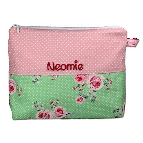 Kosmetiktäschchen mit Namen Rosen, Kulturbeutel, Schminktäschchen personalisiert, Waschbeutel, Aufbewahrungstäschchen, Kulturtäschchen, Farbe:rosa (rosa)