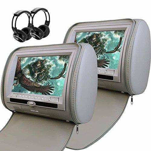 9 \'\' LCD Screen Dual DVD player integrato IR trasmettitore FM monitor poggiatesta con sistema di intrattenimento 2 Wireless IR cuffie