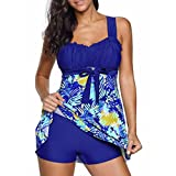 squarex Damen Bademode Clearance, 2Frauen Floral Print Tankini Plus Größe Schwangerschaftsbadeanzug Beachwear Badeanzug, Damen, Blau, XXX-Large