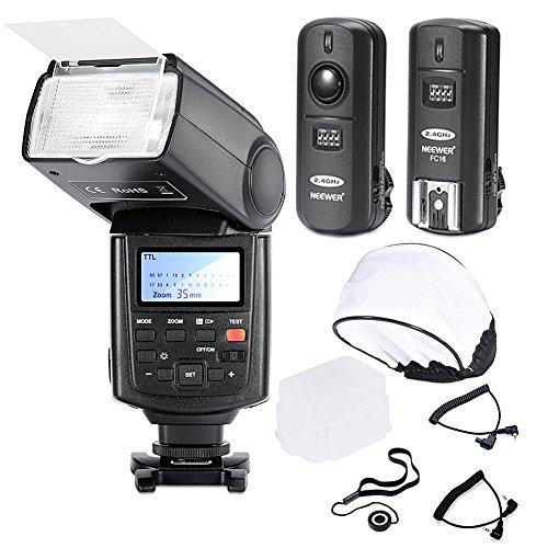 Neewer® Professionelle Speedlite Blitzgerät E-TTL * High-Speed-Synchronisation * Blitz Set für Canon EOS 650D 600D 1100D 1000D 550D 500D 450D 400D 5D, Canon Rebel T3 XS T4i T3i T2i T1i Xsi Xti, Mark III 5D Mark II 7D 60D 50D 40D 30D DSLR-Kameras, beinhaltet: Neewer Pro E-TTL NW680 Blitzgerät + Funkauslöser + 2 Kabel (C1-C3 + Kabel-Kabel) + Hart & Weich Blitz-Diffusor + Objektivdeckelhalter (Kamera Fernbedienung Für Canon Rebel Xs)