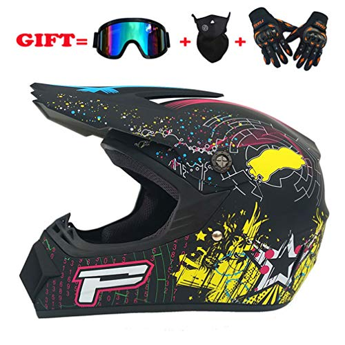 Yangyer Motocross helmet, AM mountain bike full helmet, MX motorcycle full helmet, unisex protective helmet (gloves, goggles, masks, set of 4) (Mattschwarz,L) -