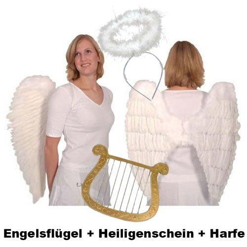Top-Angebot!!! Engelsflügel-Set aus echten Federn mit Heiligenschein und Harfe, weiß (Heiligenschein Engelsflügel Und)