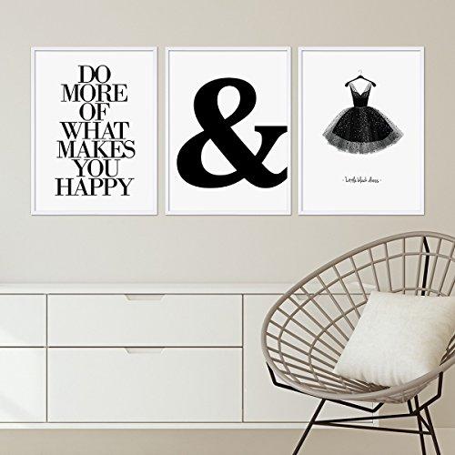 3er Set Design-Poster mit Bilderrahmen Weiss 30x40 cm schwarz-weiss Motive Typographie Dekoration Modern