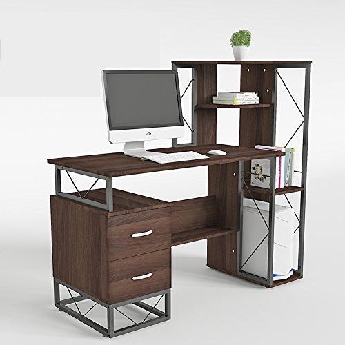 Tische Zr- Einfache Schreibtisch Bücherregal Kombination Schlafzimmer Computer Schreibtisch Mode Schreibtisch Haushalt Modernen Schreibtisch (Farbe : Dark Walnut/Right Shelf) (3 Stück Bücherregal)