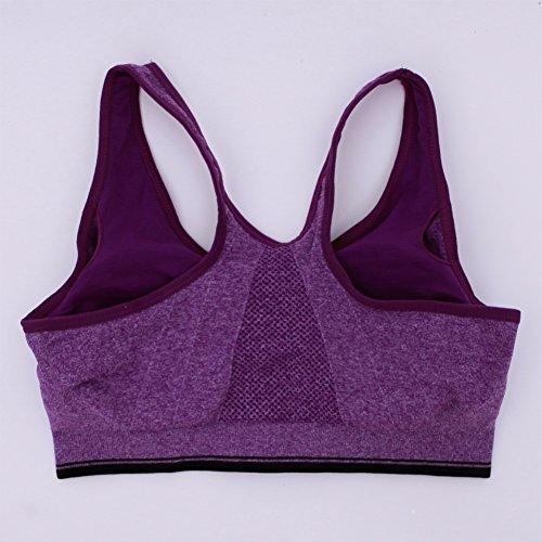 Eleery Brassière Sport Femme Soutien-gorge Top Underwear Bra Yoga Jogging Coussinets Couche Amovibles avant Zipper Elastique Sexy Violet