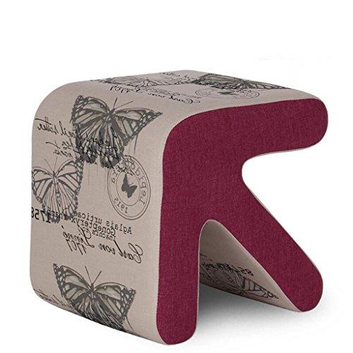 Rollsnownow Motif de papillon de fond gris clair solide bois flèche Tabouret chaussures chaussures tabouret de canapé en cuir (taille : 40 * 36 * 40cm)