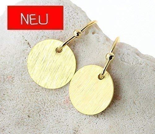 Ohrringe Ohrhänger vergoldet rosavergoldet versilbert Plättchen Scheiben Dots matt vergoldet Münzen rund Farbe: Gold