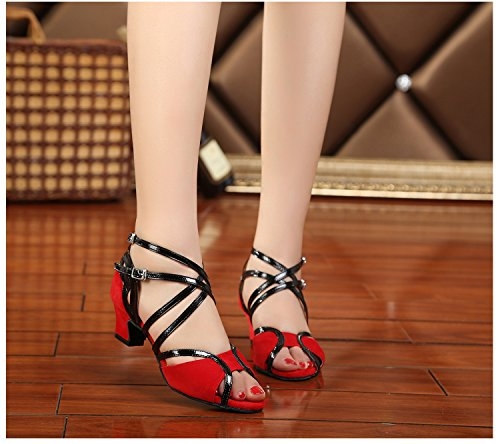 Minitoo, Scarpe da ballo donna Red-5cm Heel