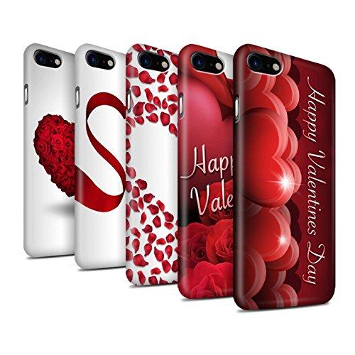STUFF4 Matte Snap-On Hülle / Case für Apple iPhone 8 / Roten Herz Muster / Valentine Herz Kollektion Pack 7pcs