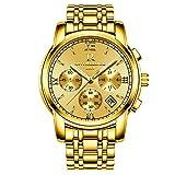 RuiZhiYuan Herren Quarz Uhren Edelstahl Multifunktions Datumsanzeige Wasserdicht Leuchtende Nacht Armbanduhr Uhr(Gold)