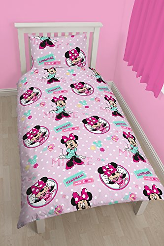 "Image of Character World Single Disney ""Minnie Mouse"" Handmade Rotary Duvet Set, Multi-Colour"