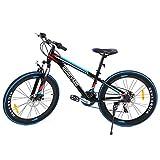 MuGuang 26 Pollici 7 velocità Bicicletta MTB Freni a Disco Mountain Bike Unisex per Adulti (Nero+Blu)