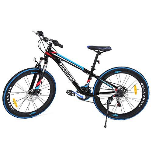 MuGuang 26 Zoll 7 Vitesses Mountainbike MTB Fahrrad Scheibenbremsen Unisex für Erwachsene (Schwarz + Blau)
