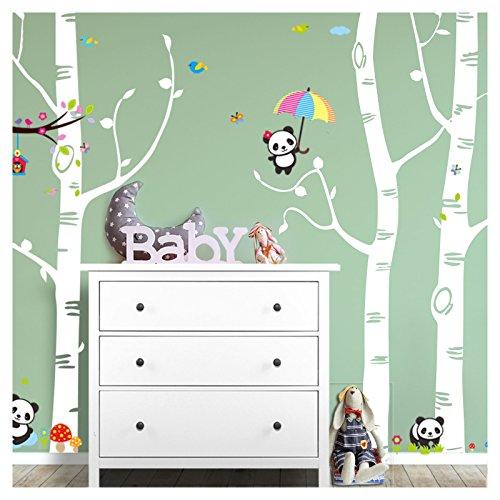 Wandaro W3418 Wandtattoo XXL Birkenstämme + Pandabären I weiß (BxH) 281 x 250 cm I Baby Aufkleber Kinderzimmer Wandsticker Wandaufkleber