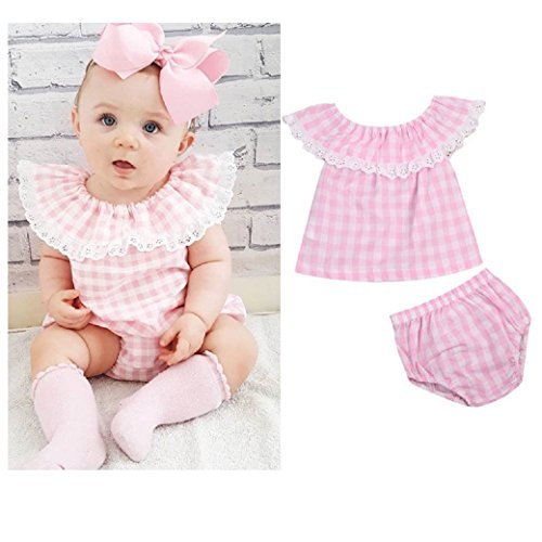 Trachten Shirt und Hose, Set, Gr. 60, 0-3 Monate, rosa/weiß kariert, 100% Baumwolle, Mädchen Dirndl,...