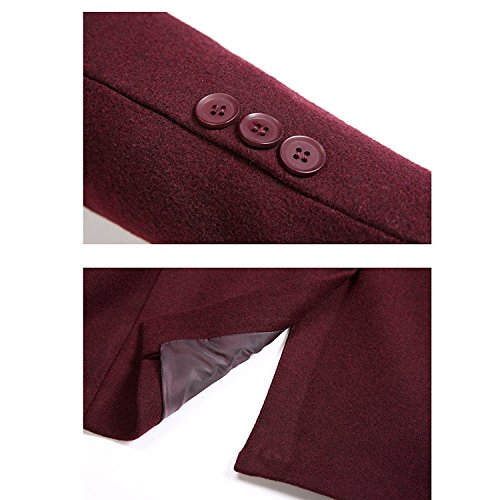 Zhuhaitf Fashion Casual Mens Slim Fit Woolen Jackets Outerwear Winter Formal Gentleman Trench Coats Dark Blue