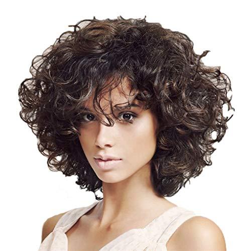 Perücken 34 cm/Dorical Damen Brown Wigs/Kurz Synthetische Lockiges Perücke/Haarteile für Karneval Fasching Cosplay Party Kostüm für verschiedene Hautfarben(Schwarz)