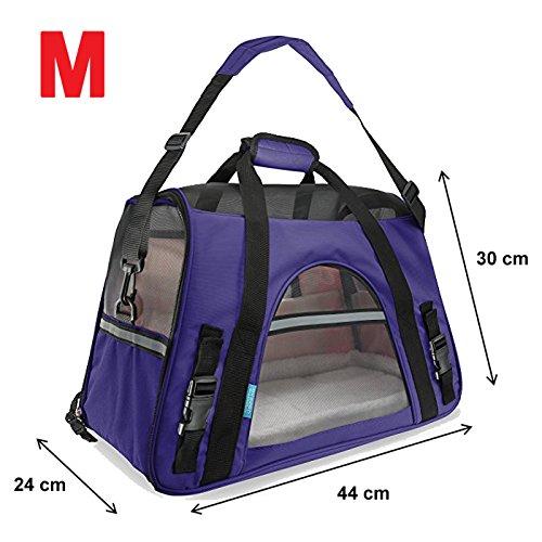 600D Transporttasche Reisetasche Tasche Hund Katze Hase Kaninchen Andere Kleintiere mit Flugzulassung (Lila (M))