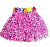 Milopon Hawaii Rock Bastrock Südsee Pazifik Hula Gras Skirt für Kinder Karneval Kostüm Party, Geburtstag, Feier40 cm (Rose)