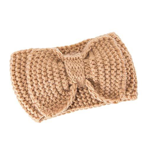 s und nützliches Stirnband Frauen-Haar-Ball-strickendes Stirnband-elastisches handgemachtes Bogen-Entwurfs-Haarband Gelb 20 cm x 11 cm ()