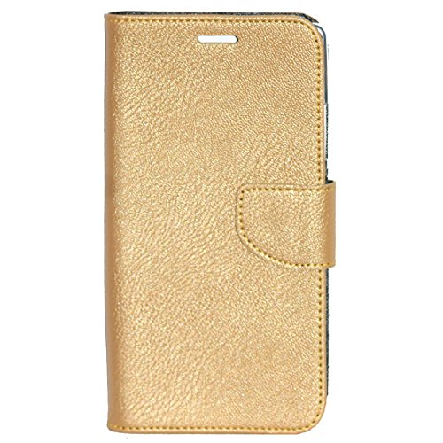 Zaoma Diary Wallet Type Flip Cover for Micromax Canvas Mega 2 Q426 Q426+ - Gold