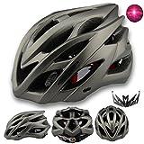 Damen Herren Fahrradhelm mit integriertes LED-Rücklicht und Sonnenblende, Matt Specialized Rennradhelm mit Insektenschutz, MTB fahrrad helm integral mit 22 Belüftungskanäle gr 56-62