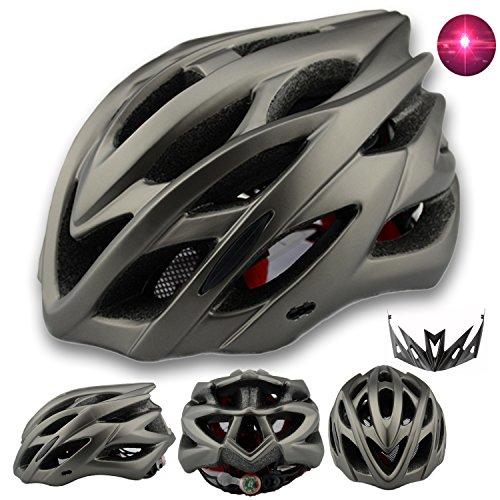 Damen Herren Fahrradhelm mit integriertes LED-Rücklicht und Sonnenblende, Matt Specialized Rennradhelm mit Insektenschutz, MTB fahrrad helm integral mit 22 Belüftungskanäle gr 57-62