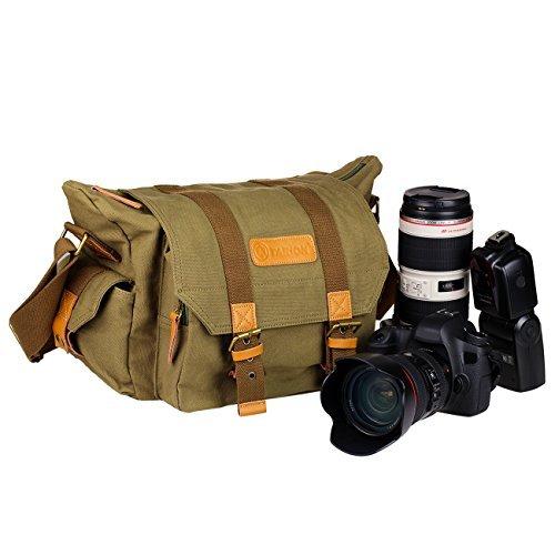 TARION® Kameratasche Fototasche Umhängetasche Schultertasche Leinwand Rucksack mit mehreren Fächern für Kameras Digitalkamera und Objektive Zubehöre (Innenmaß: ca.30 x 12 x 20 cm )