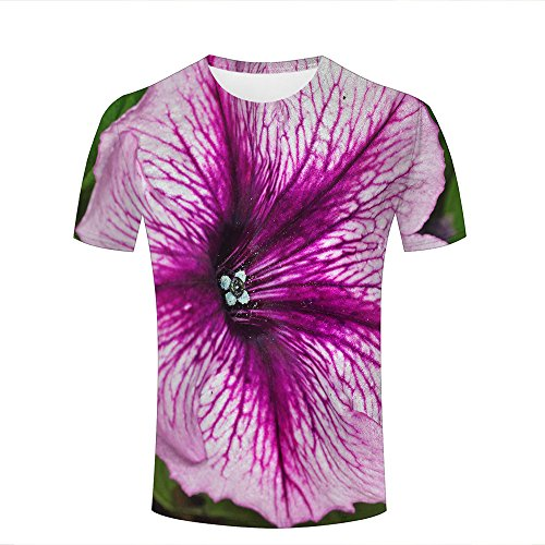 ouzhouxijia Mens 3D Printed T-Shirts Photography - Flowers Petunia Graphics Couple Tees A