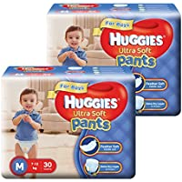 Huggies Ultra Soft Pants Medium Size Premium Diapers for Boys (2 x 30 Counts)