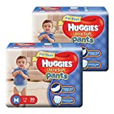 Huggies Ultra Soft Pants Premium Baby Diapers For Boys, M 30 Pieces (Pack Of 2)