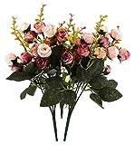 Estas rosas artificiales están hechas a mano y a máquina. El ramo de flores artificiales es ideal para bodas, habitaciones, salas de reuniones, salas de espera, jardines, balcones, tiendas, etc. Características: Color:Rosa y marrón. Material:...