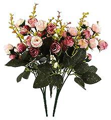 Idea Regalo - Fiori secchi e confezione da 21 pezzi, in seta, a forma di rose, finto bouquet, matrimonio, decorazione per la casa, confezione da 2 pezzi, color rosa e caffè
