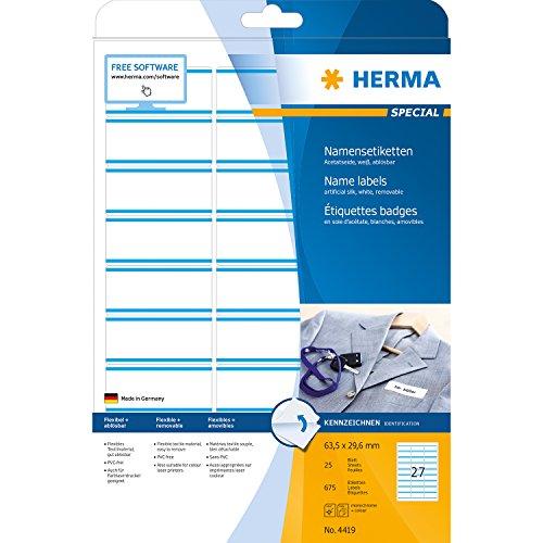 Herma 4419 Namensetiketten (Namensaufkleber im Format 63,5 x 29,6 mm, zur PC-Beschriftung für den temporären Einsatz, selbstklebende Textil-Namensschilder, ablösbar) 675 Stück, blau/weiß