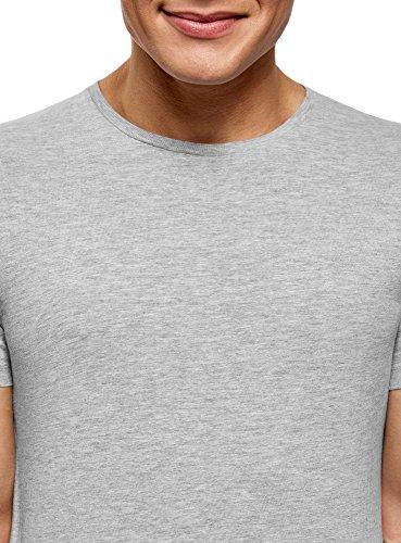 oodji Ultra Herren T-Shirt Basic Grau (2300M)
