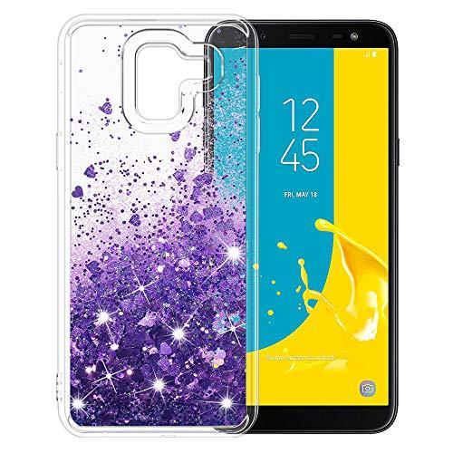 MASCHERI Hülle für Samsung Galaxy J6 2018, Flüssig Bling Dynamisch Glitze Kratzfest Silikon Schutzülle Luxus handyschalen Shiny Glanz Beschützer Cover für Samsung J6 2018 - Lila