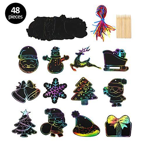 KATELUO Scratch Art, 48 Natale Rainbow Scraping Art e Artigianato Per Bambini Black Magic Scratch Art Paper,Carta regalo di Natale,Babbo Natale, Pupazzo di Neve, Alce, Natale Forniture di Gioco