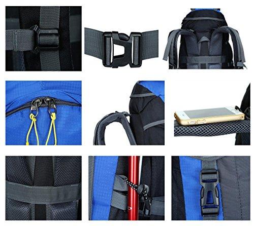 65 + 5L Camping Backpack Outdoor Sports Large Kapazität Lightweight Portable Rucksack für Bergsteigen Wandern Reisen Reiten Multifunktion doppelt Schultern Tasche H67 x L35 x T35 cm Green