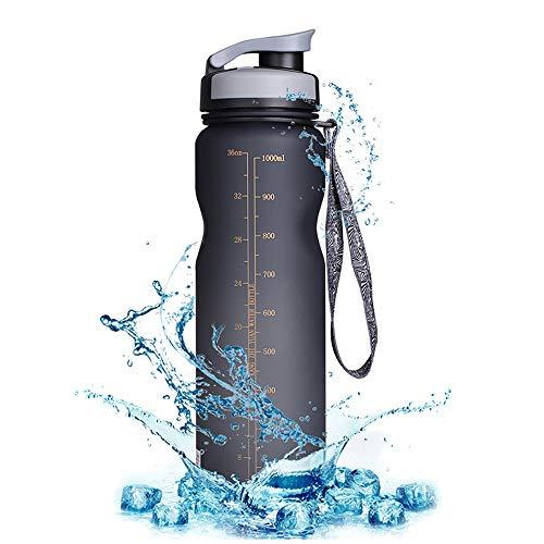 Modenny 1000ML Fahrrad Wasserflasche Outdoor Drink auslaufsichere Tasse Für Radfahren Fahrrad Outdoor Drink Sportflasche (Color : Black)